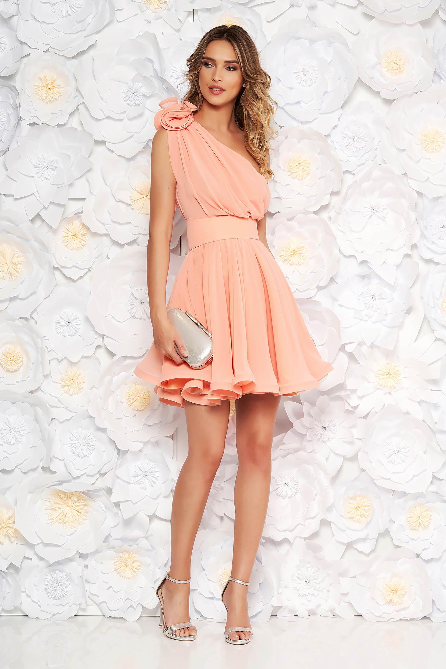 Ana Radu luxurious peach dress from veil fabric with inside lining cloche accessorized with tied waistband