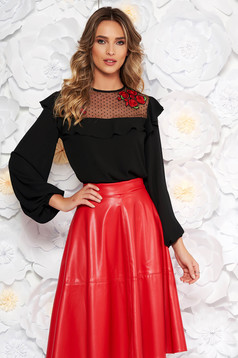LaDonna black elegant flared women`s blouse from veil fabric with embroidery details with ruffle details