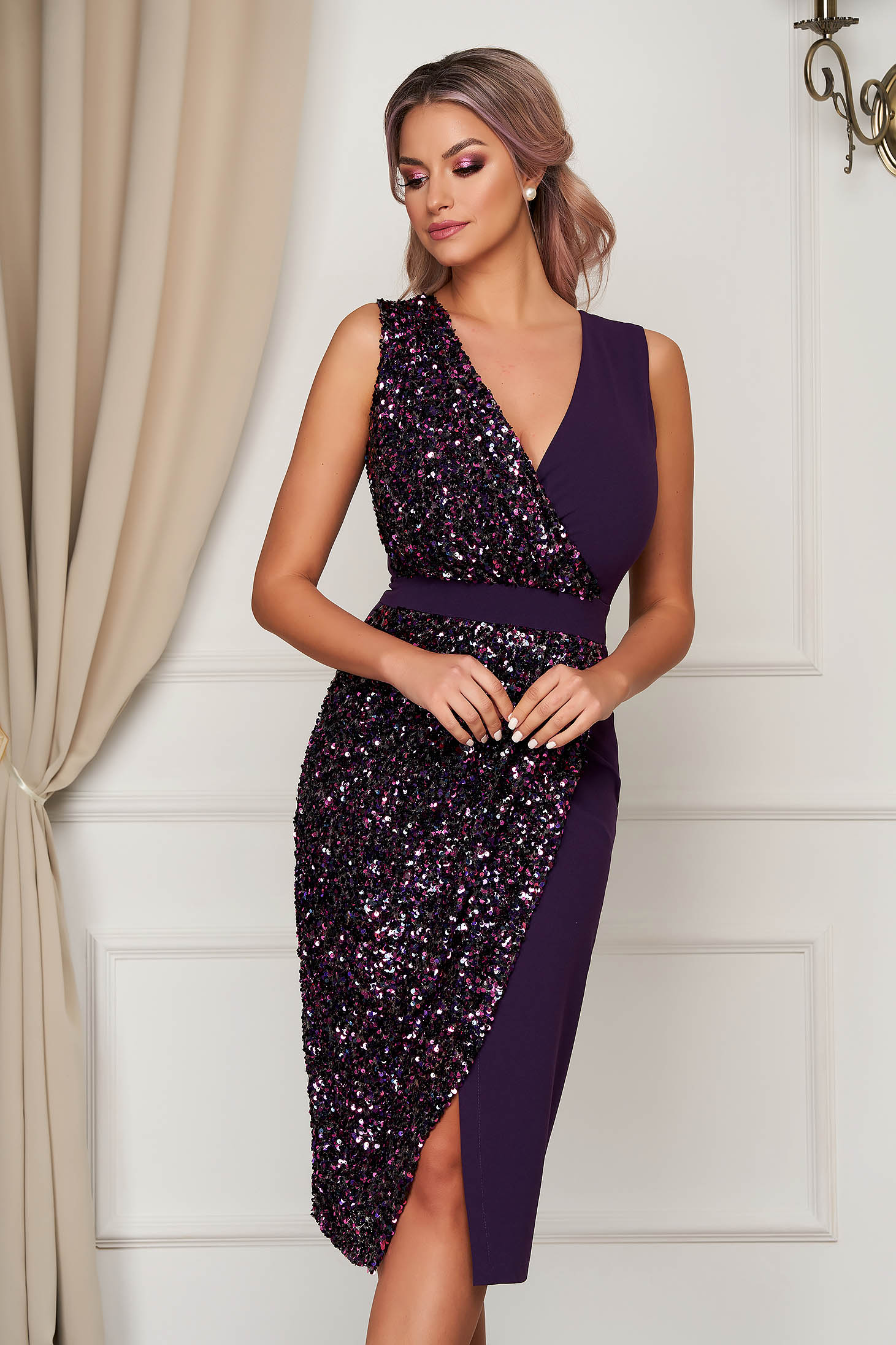StarShinerS purple dress occasional midi pencil with sequin embellished details with v-neckline wrap over front sleeveless