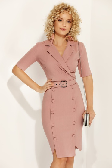 Fofy rosa office pencil dress slightly elastic fabric with button accessories accessorized with belt