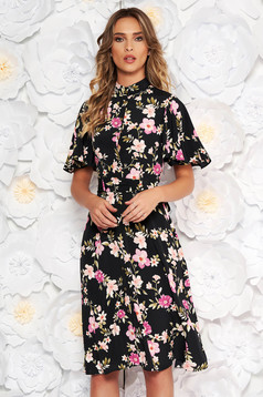StarShinerS black daily cloche dress voile fabric with floral print accessorized with tied waistband