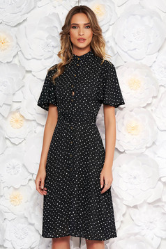 StarShinerS black daily cloche dress from veil fabric dots print accessorized with tied waistband