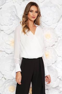PrettyGirl white elegant women`s blouse from veil fabric with elastic waist with v-neckline