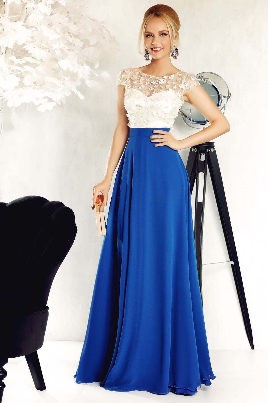 Fofy blue occasional cloche dress from veil fabric with inside lining with floral details with 3d effect