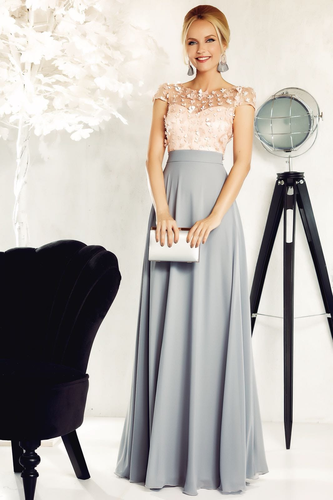 Fofy grey occasional cloche dress from veil fabric with inside lining with floral details with 3d effect