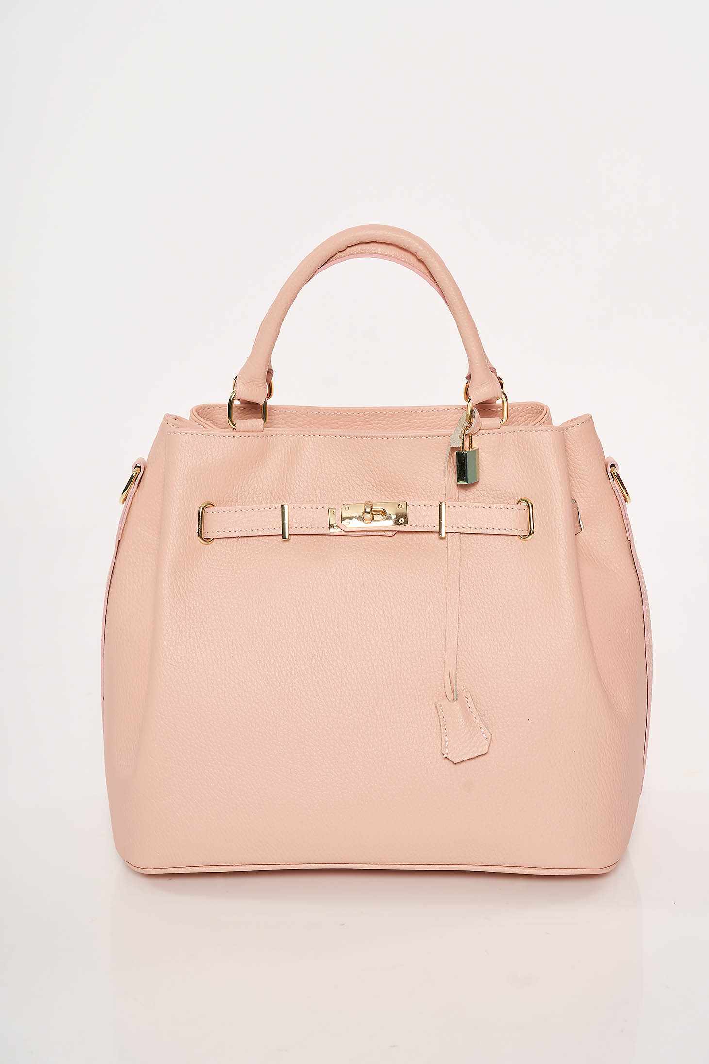 Lightpink office bag natural leather with metalic accessory