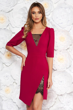 LaDonna fuchsia elegant dress with tented cut with v-neckline with lace details