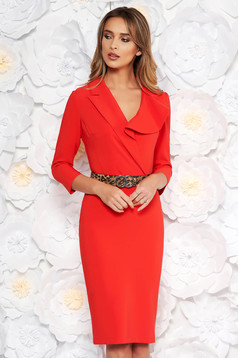 LaDonna coral elegant pencil dress slightly elastic fabric accessorized with belt