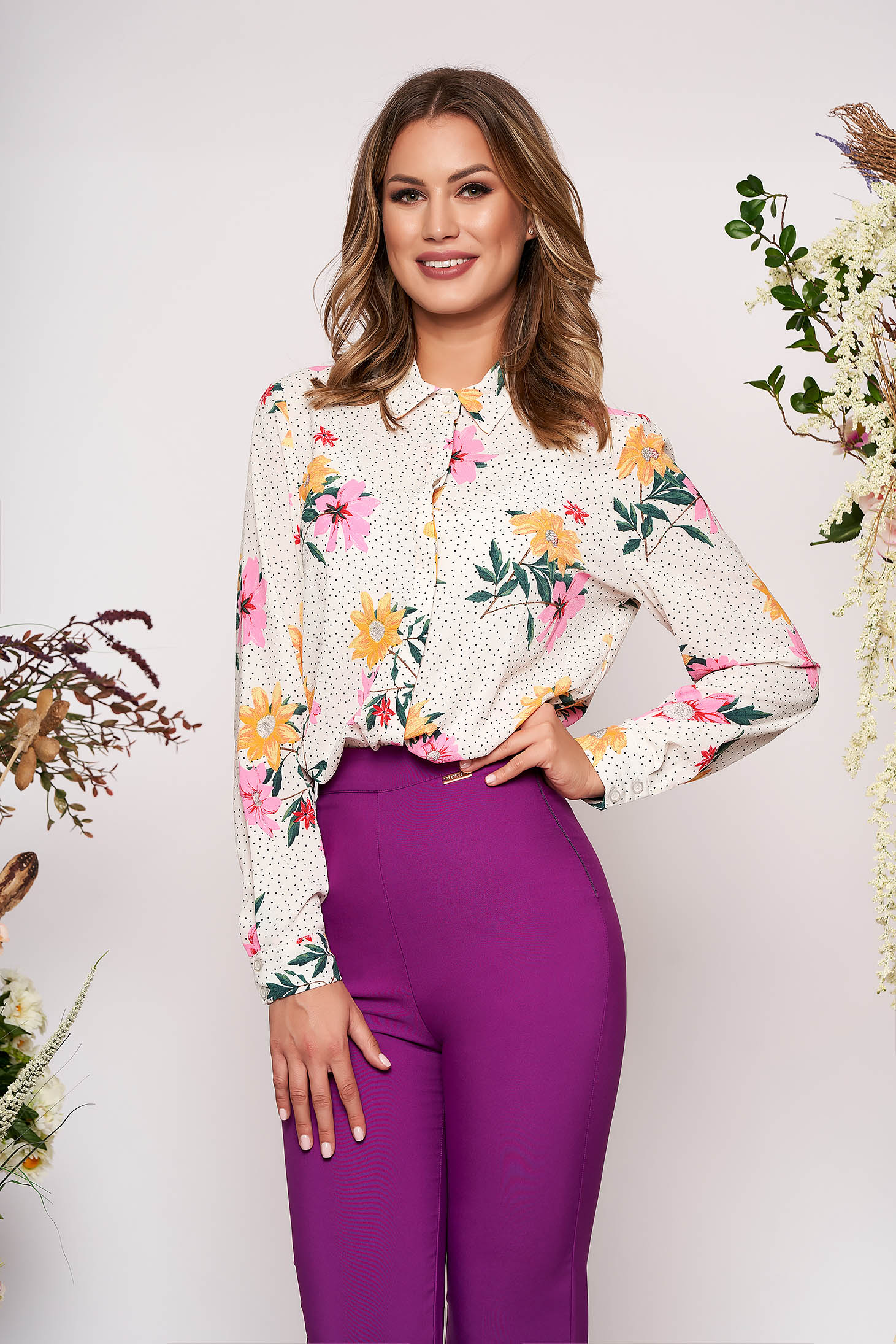 StarShinerS white elegant flared women`s shirt slightly transparent fabric with floral print