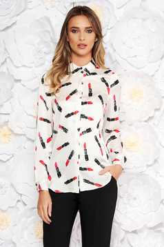 StarShinerS white elegant flared women`s shirt from satin fabric texture with graphic details