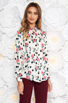 StarShinerS white elegant flared women`s shirt from satin fabric texture with floral print