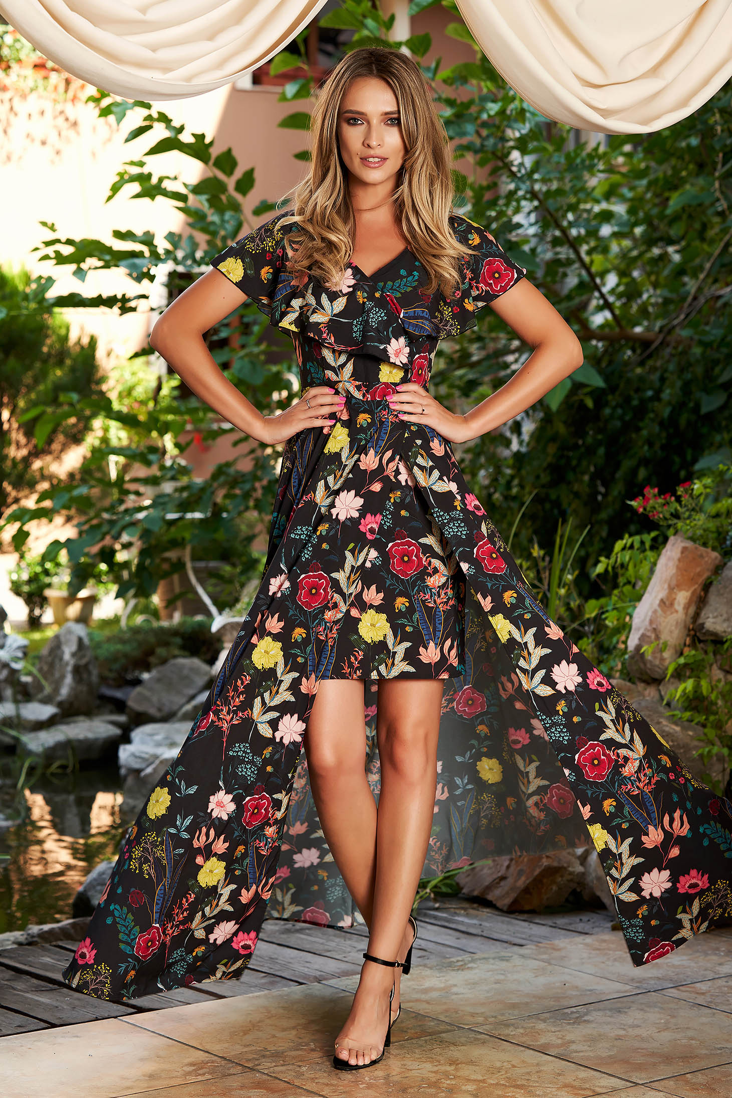 StarShinerS black dress occasional cloche with floral print with v-neckline frilly trim around neck and cleavage line