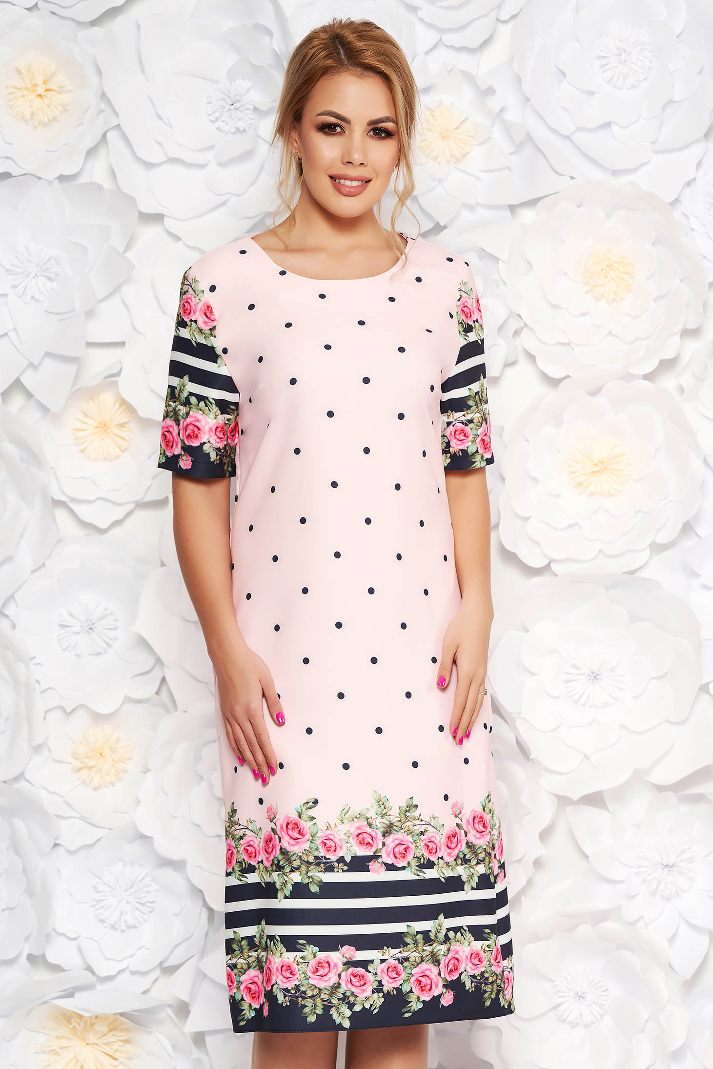 8ec13fa4ecc Rosa daily with straight cut dress slightly elastic fabric with floral  print dots print