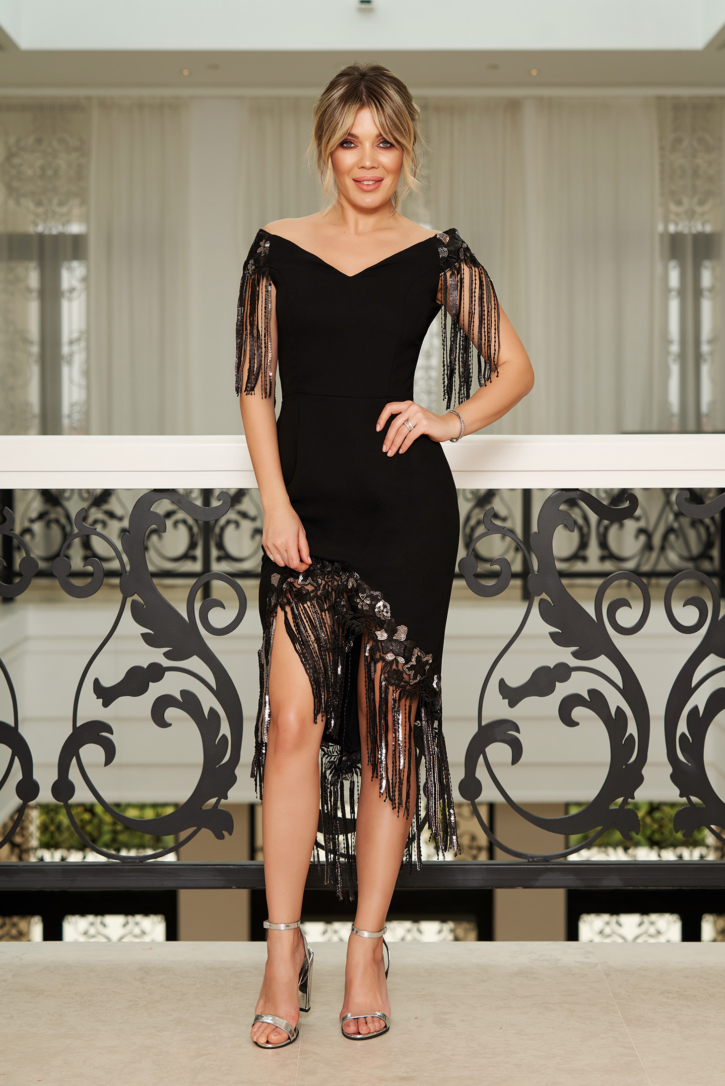 StarShinerS black occasional asymmetrical dress off shoulder with fringes with sequin embellished details