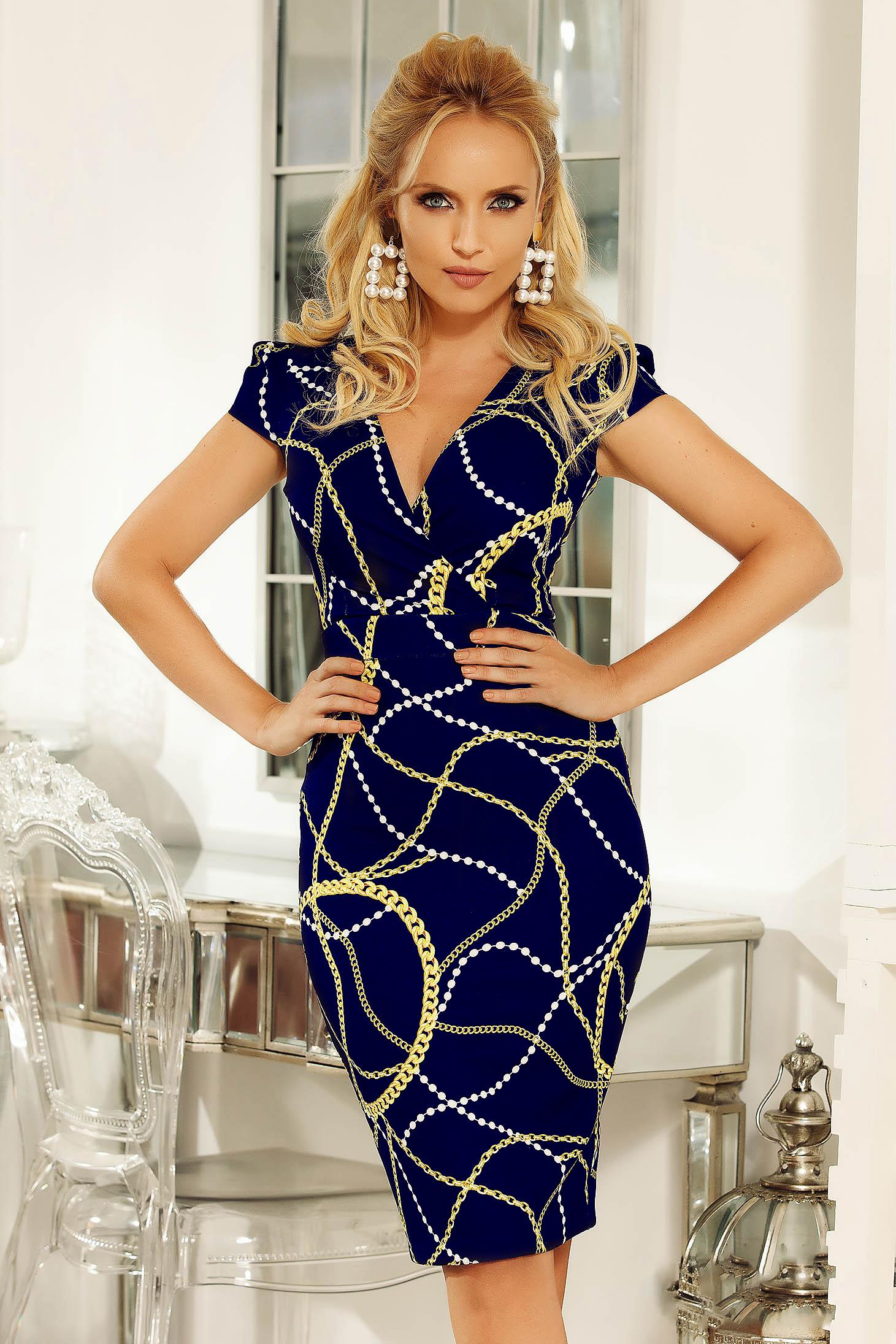 Fofy darkblue dress with v-neckline elegant pencil slightly elastic fabric