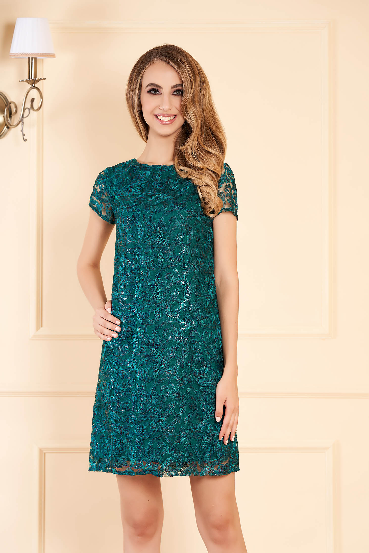 Darkgreen occasional flared dress from laced fabric with sequin embellished details with inside lining
