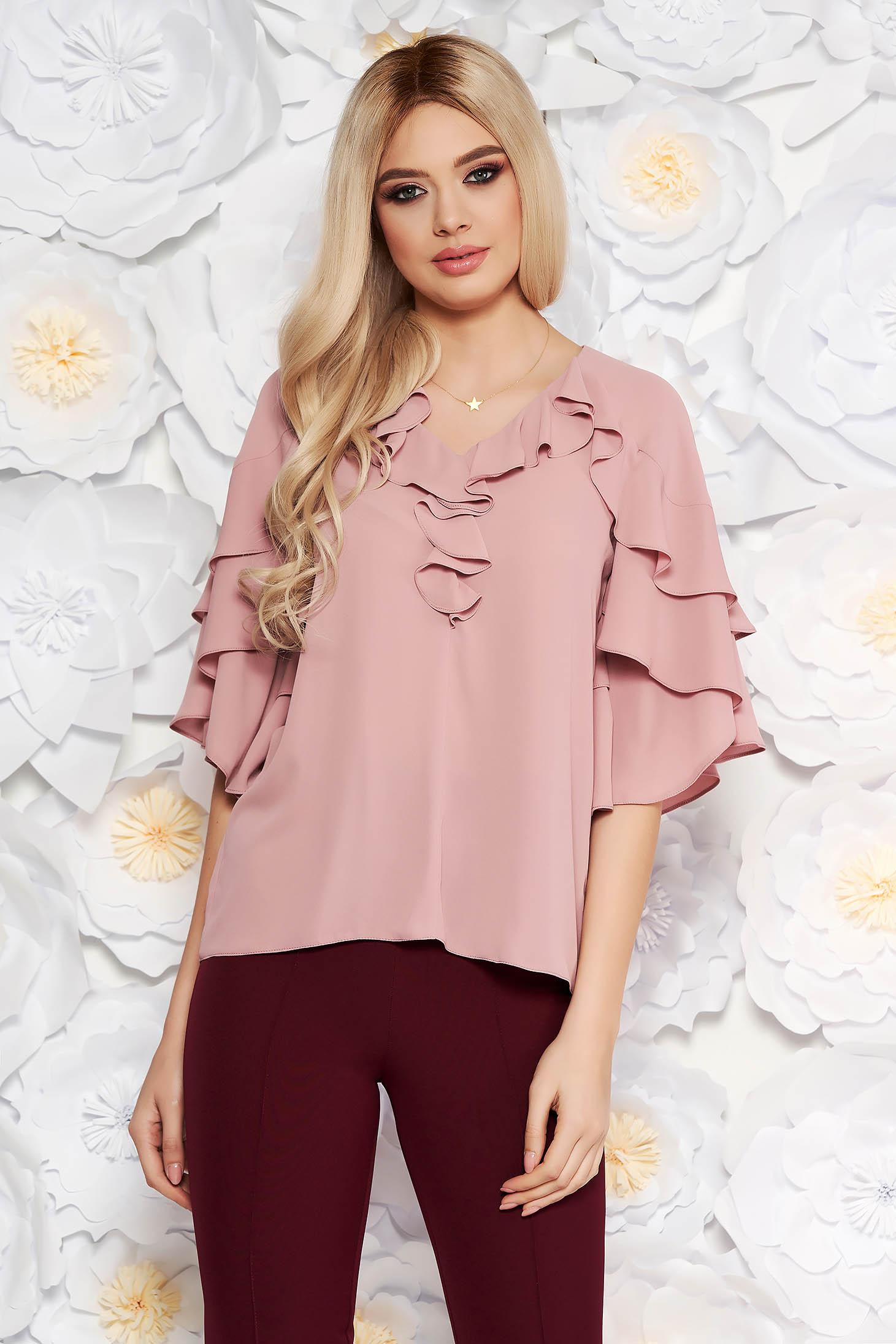 Bluza dama rosa eleganta din voal cu decolteu cu volanase cu croi larg