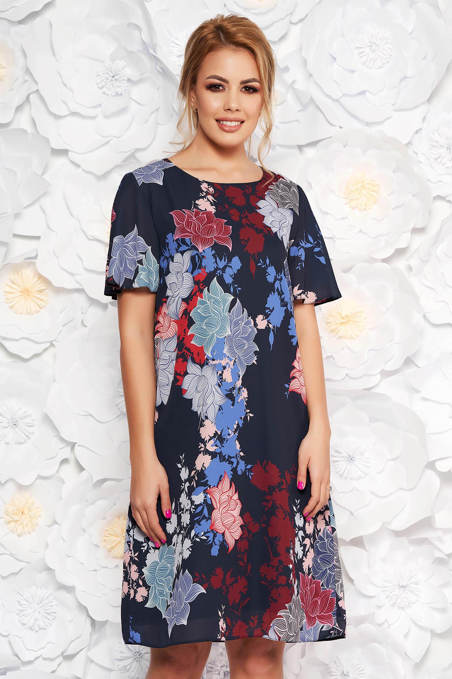 Rochie albastra-inchis eleganta din material subtire cu imprimeuri florale