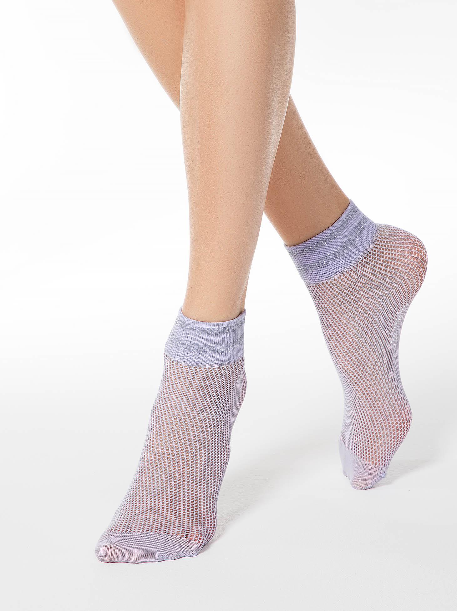 Lila net stockings tights & socks from elastic fabric shimmery metallic fabric