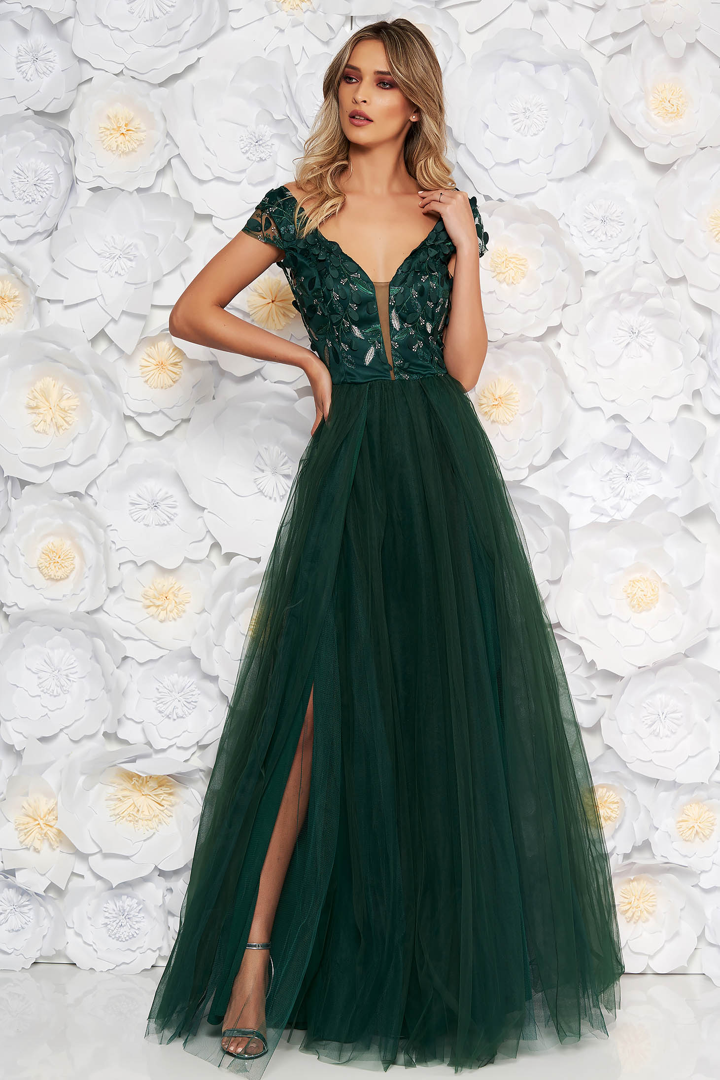 Artista darkgreen occasional cloche dress from tulle laced with push-up cups with floral details with 3d effect
