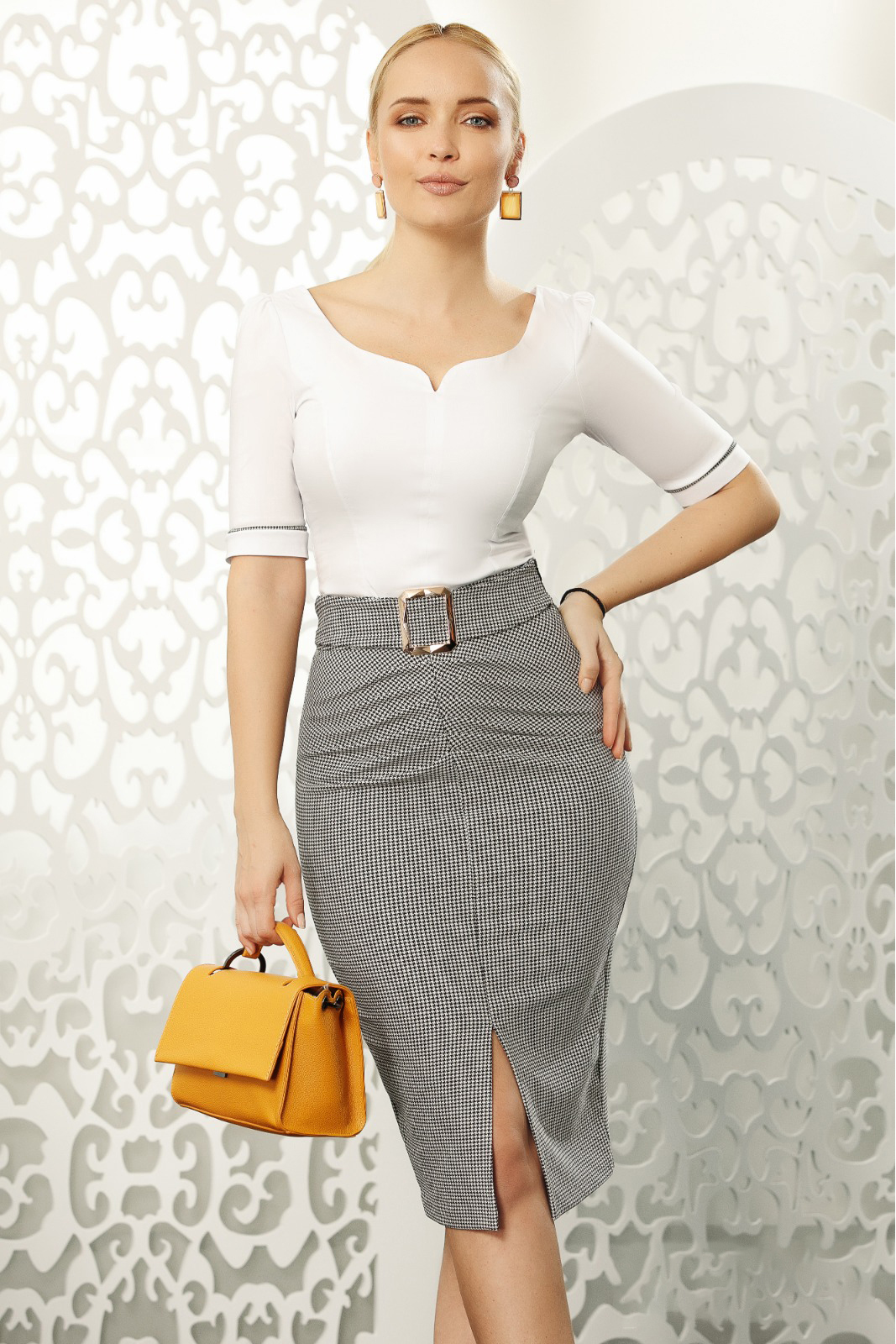 White office with tented cut women`s shirt elastic cotton with v-neckline with bow accessories