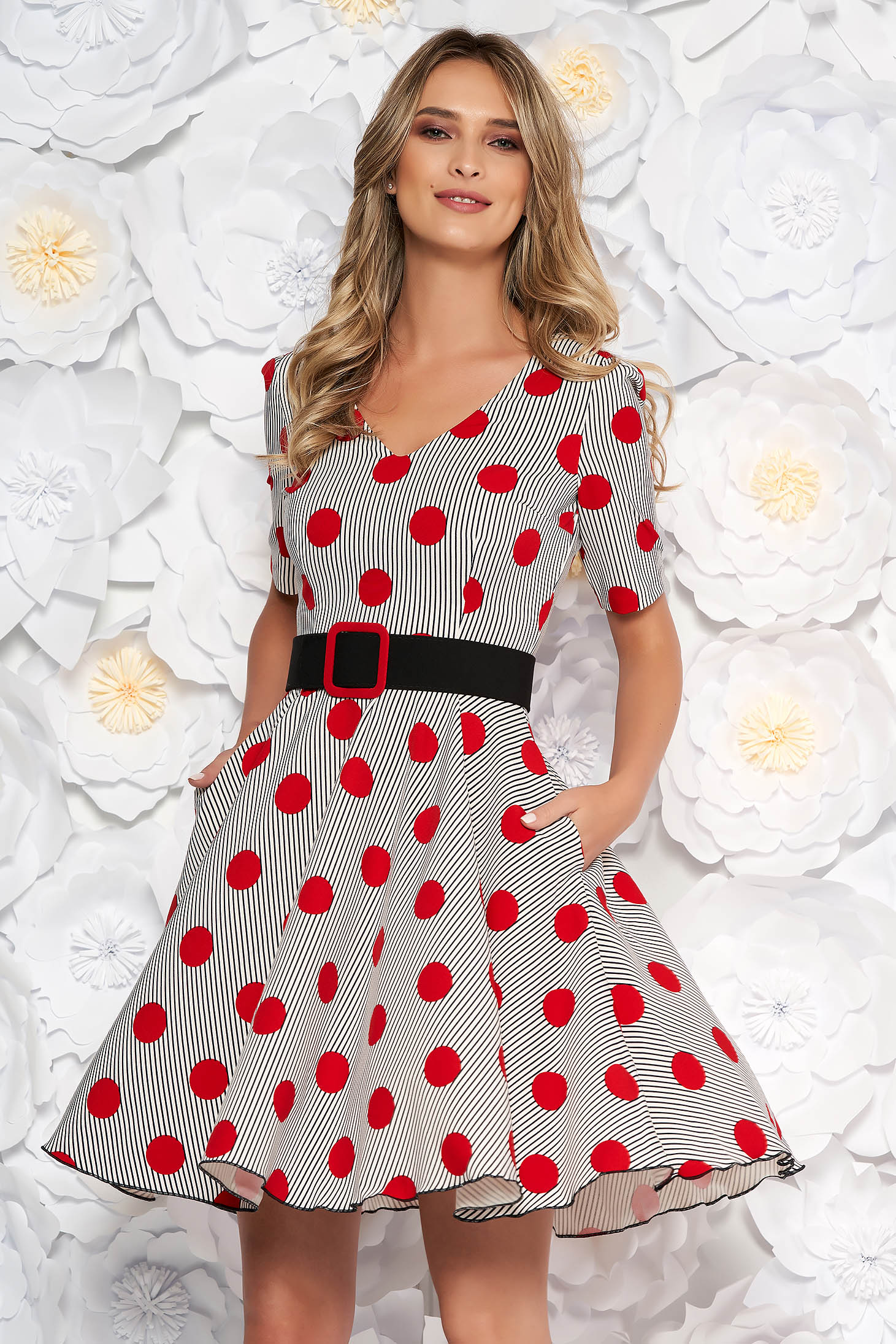 White dress short cut daily cloche dots print with v-neckline accessorized with belt