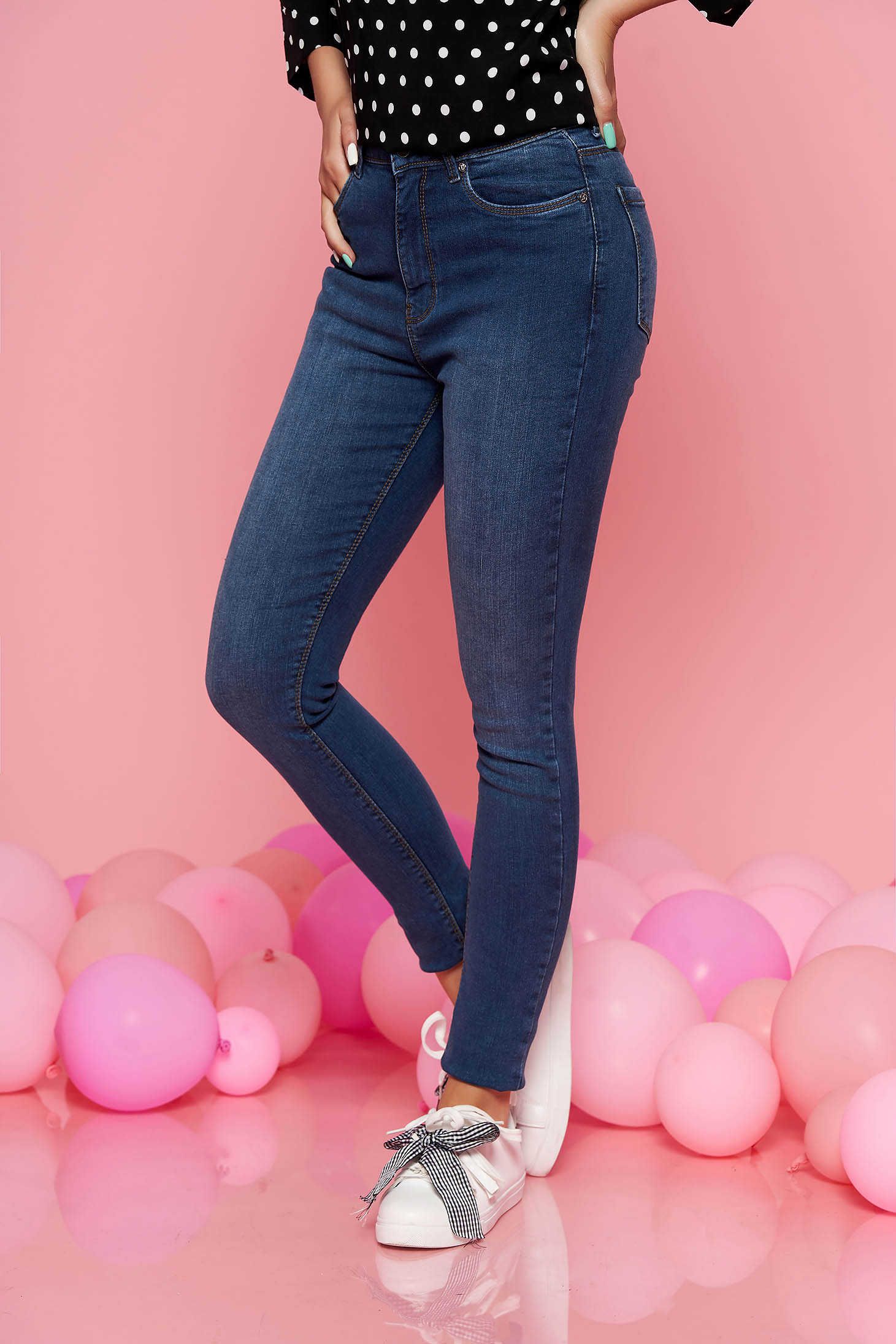Blugi albastri Top Secret casual cu talie medie skinny din bumbac usor elastic