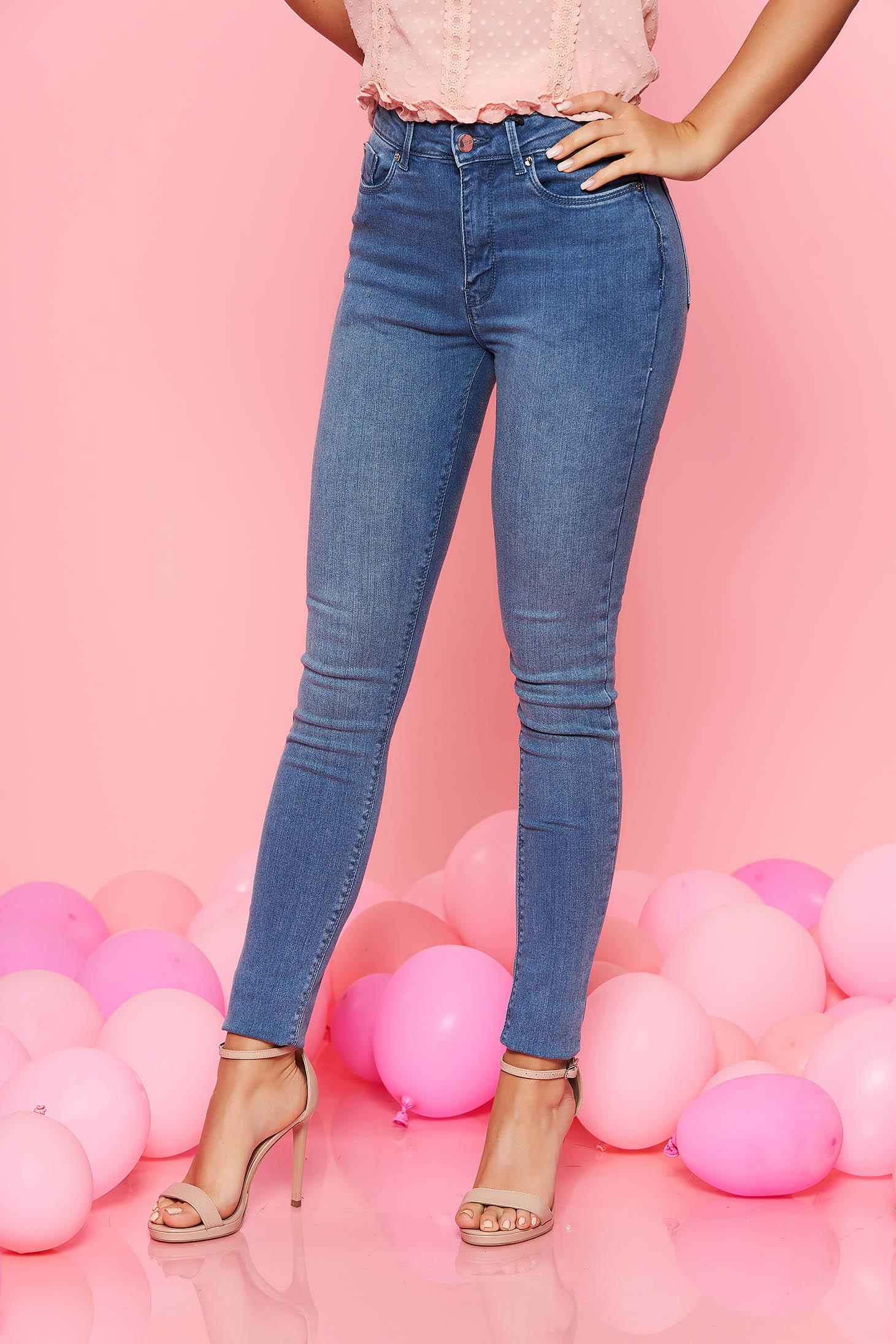 Top Secret lightblue skinny jeans with medium waist slightly elastic cotton