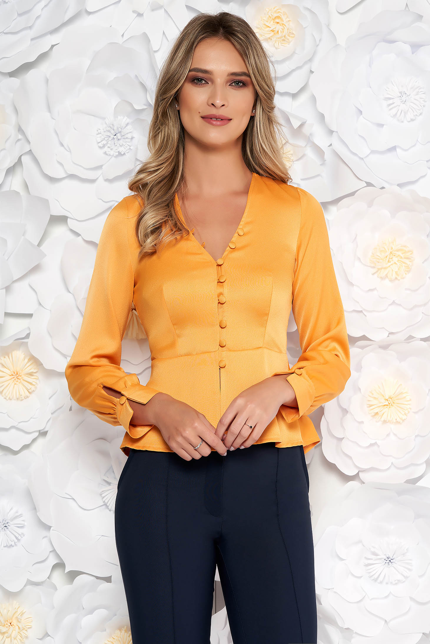 StarShinerS orange elegant women`s blouse with tented cut from satin fabric texture with frilled waist