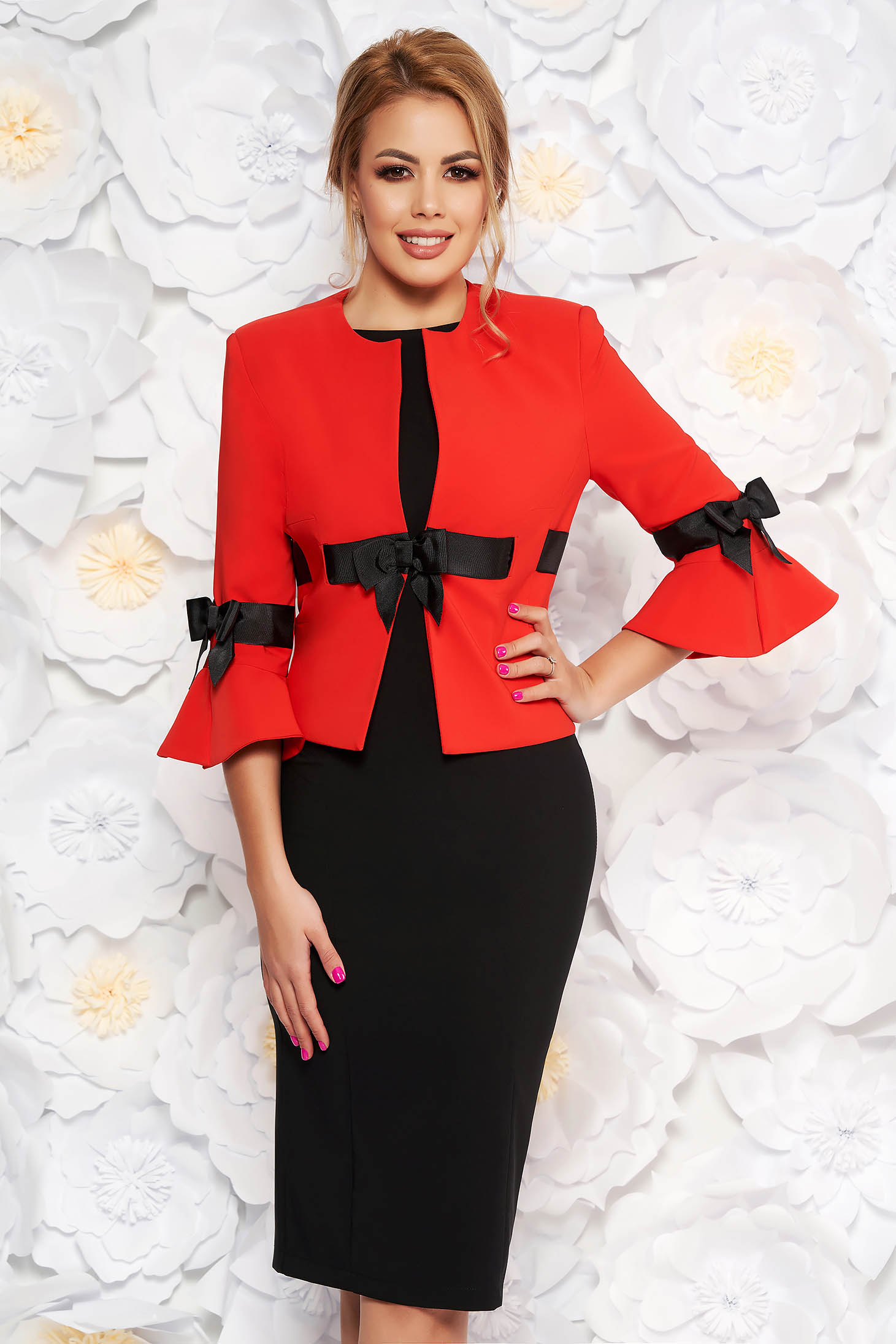 LaDonna red elegant cloth lady set with bell sleeve