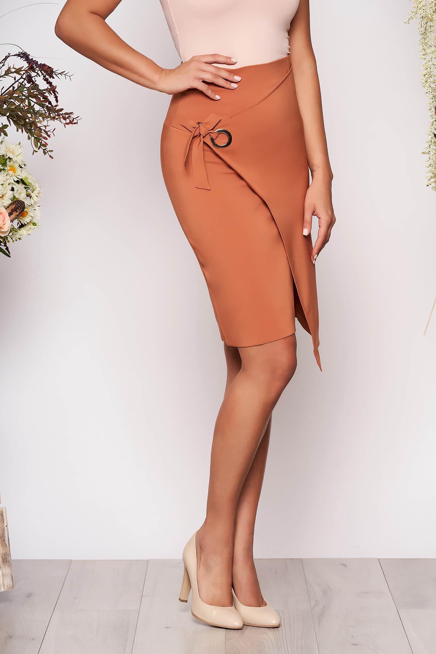 Brown skirt office midi pencil slightly elastic fabric high waisted