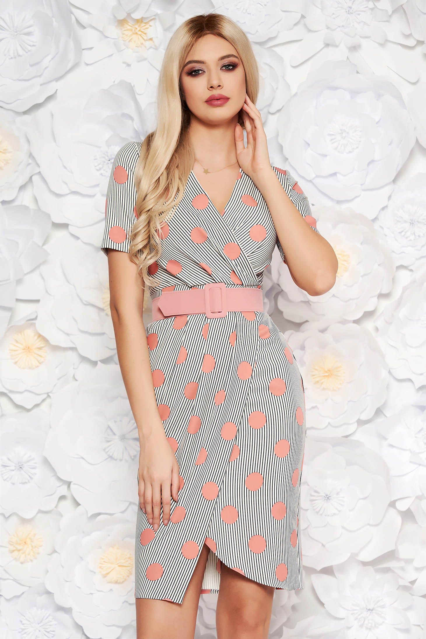 PrettyGirl rosa office midi pencil dress soft fabric accessorized with belt
