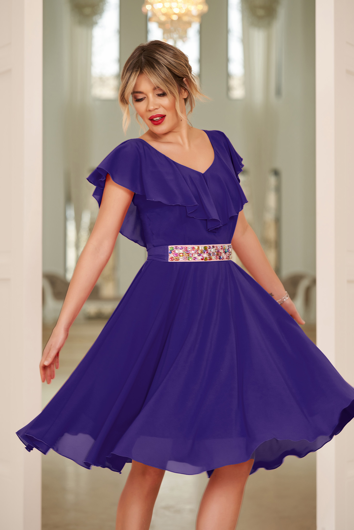 StarShinerS purple occasional cloche dress voile fabric with ruffle details accessorized with tied waistband