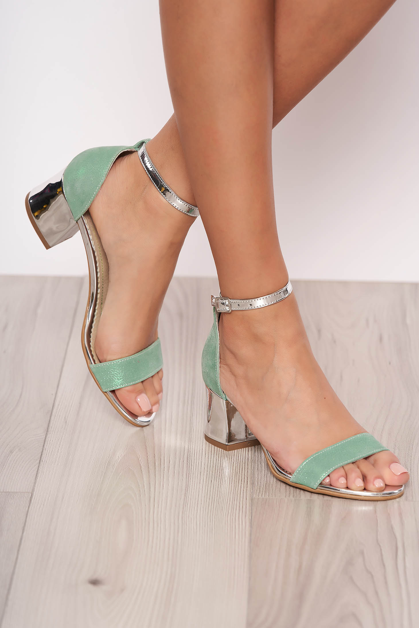 Mint occasional sandals natural leather chunky heel