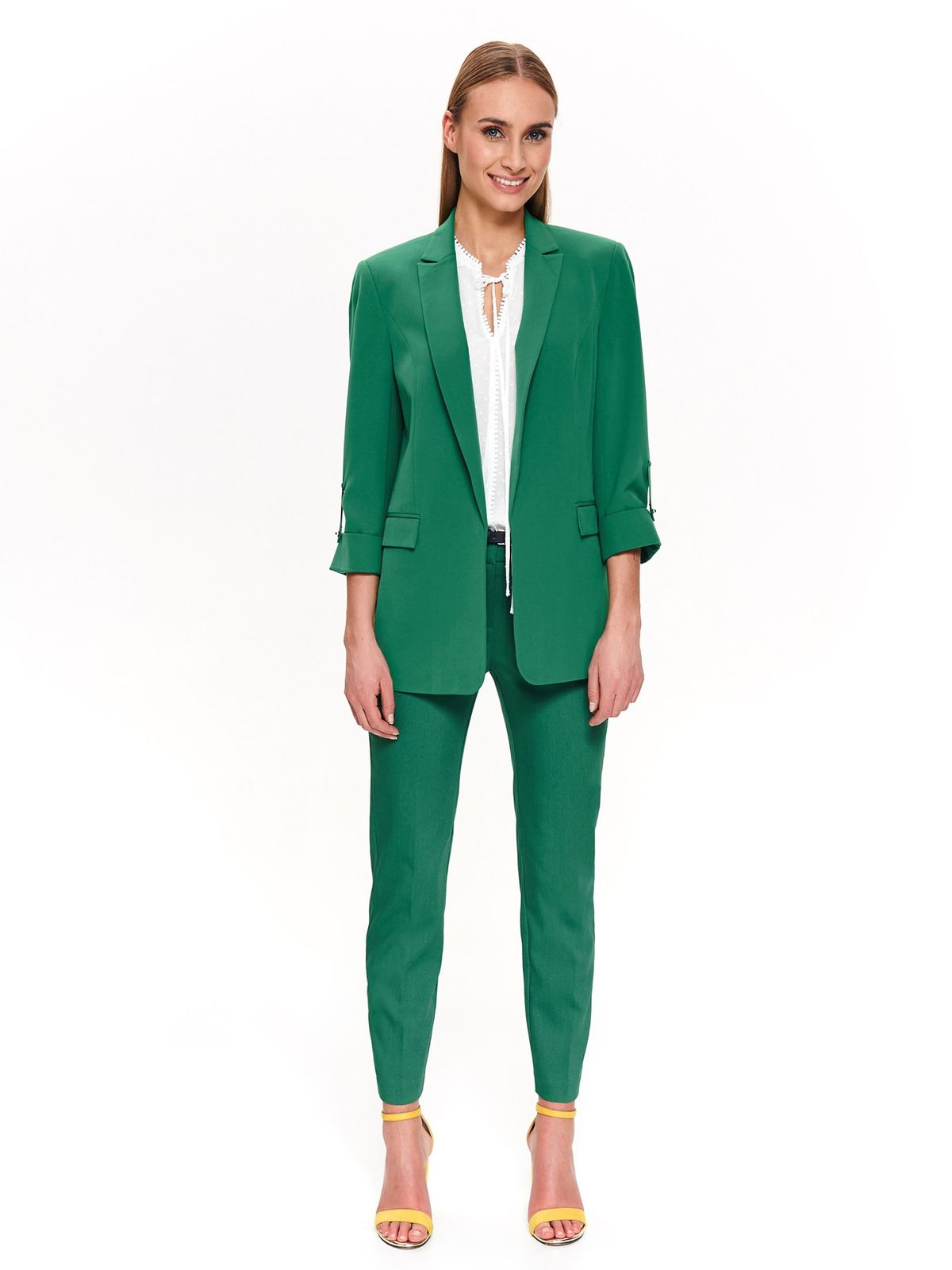 Sacou Top Secret verde elegant cu un croi drept cu maneca 3/4 din material fin la atingere