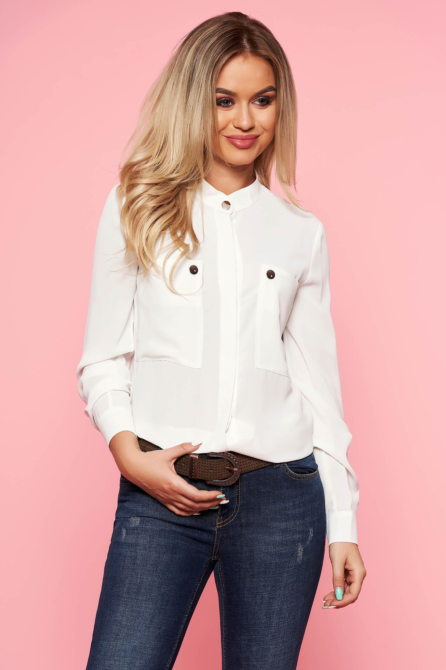 White elegant office flared women`s shirt airy fabric