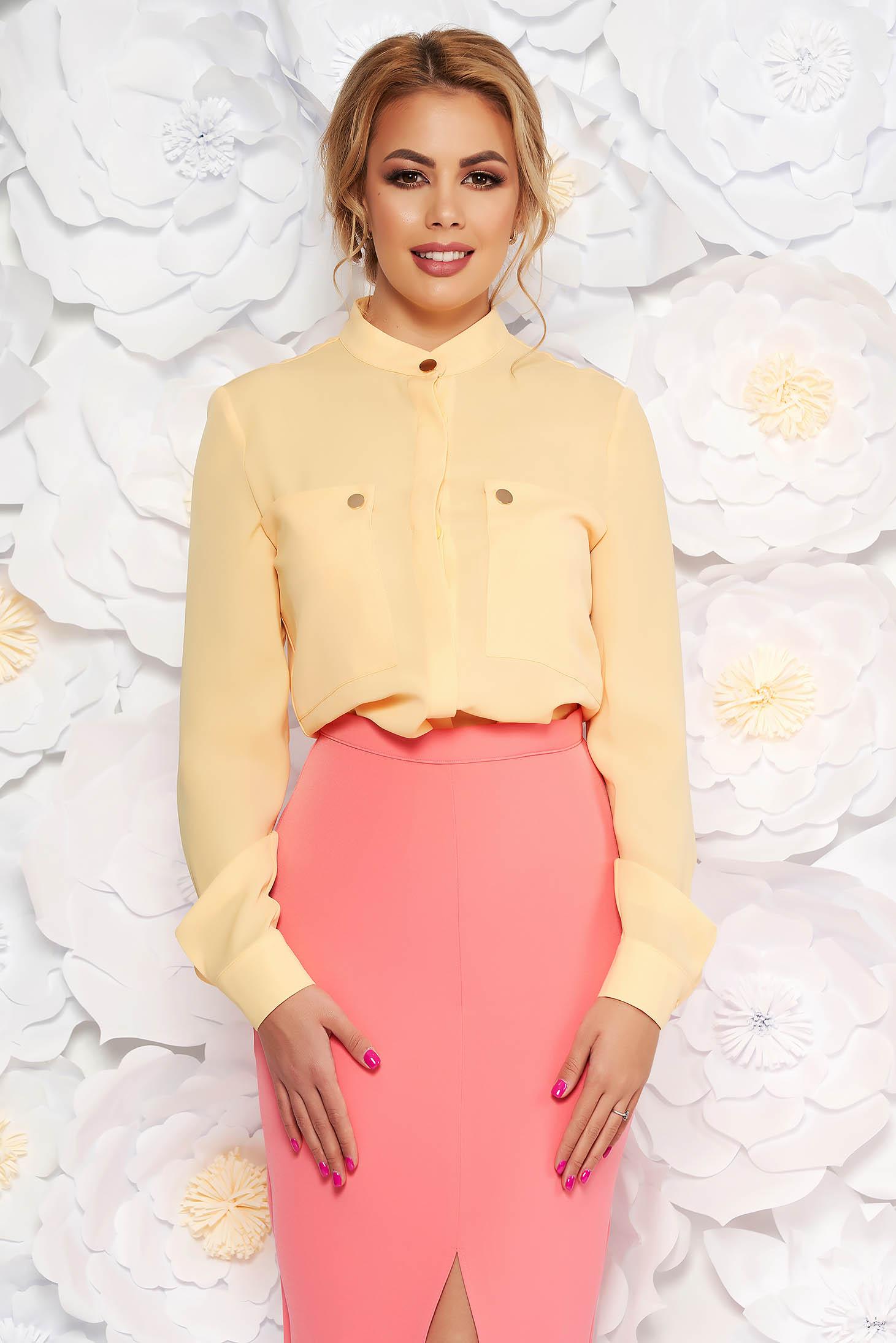8ee8331201 Sárga elegáns irodai bő szabású női ing lenge anyagból