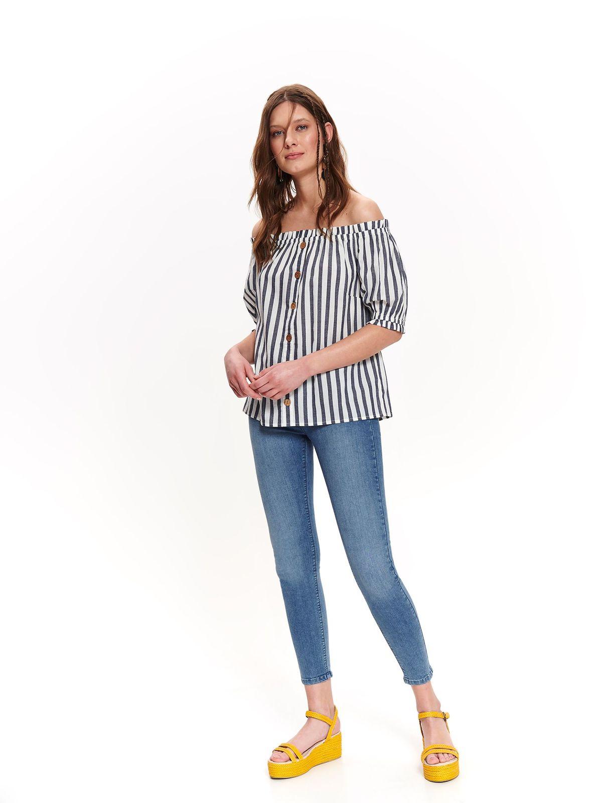 Bluza dama Top Secret piersica casual cu croi larg cu umeri goi cu maneca scurta din bumbac