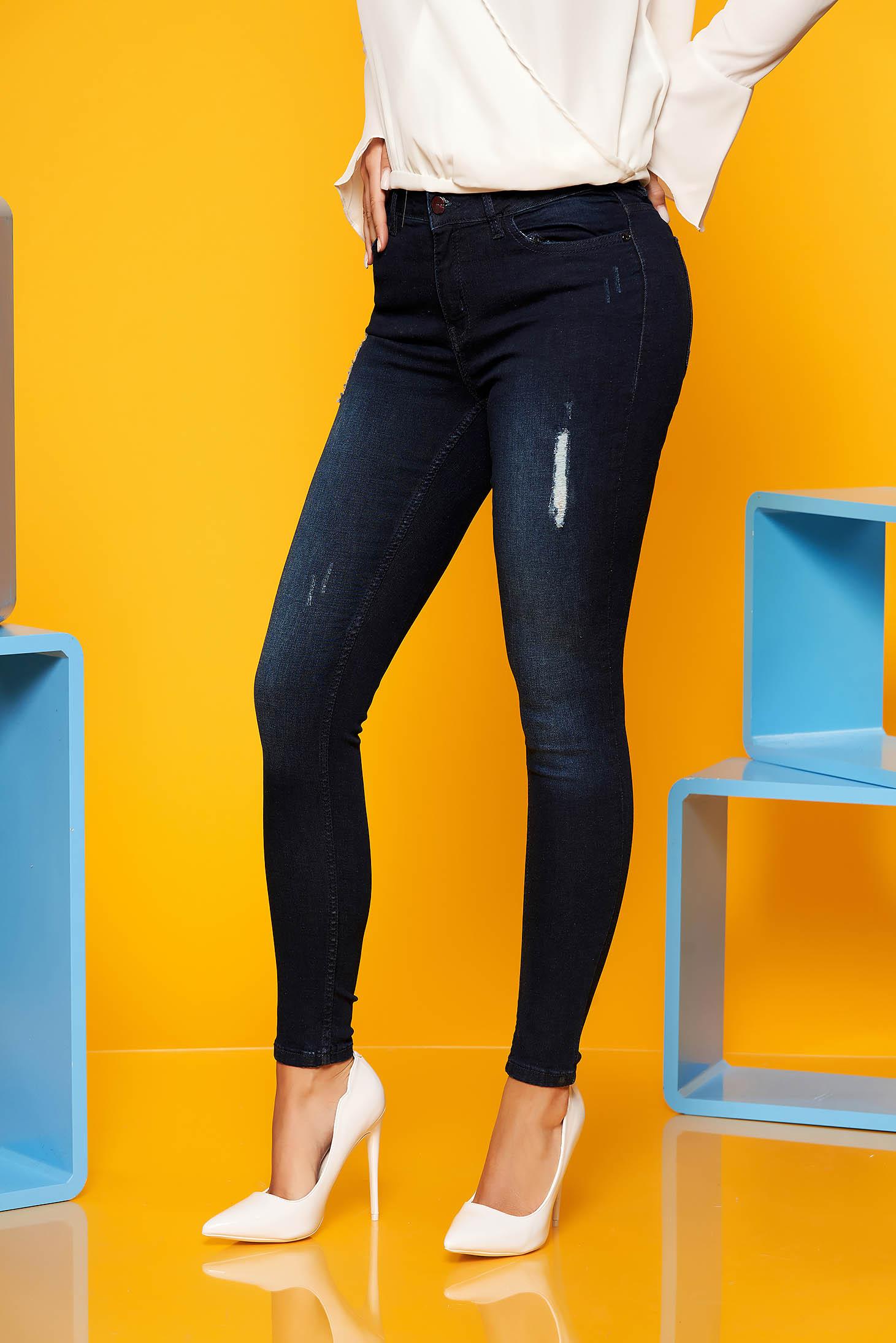 Blugi Top Secret albastri-inchis skinny casual din bumbac elastic cu talie medie