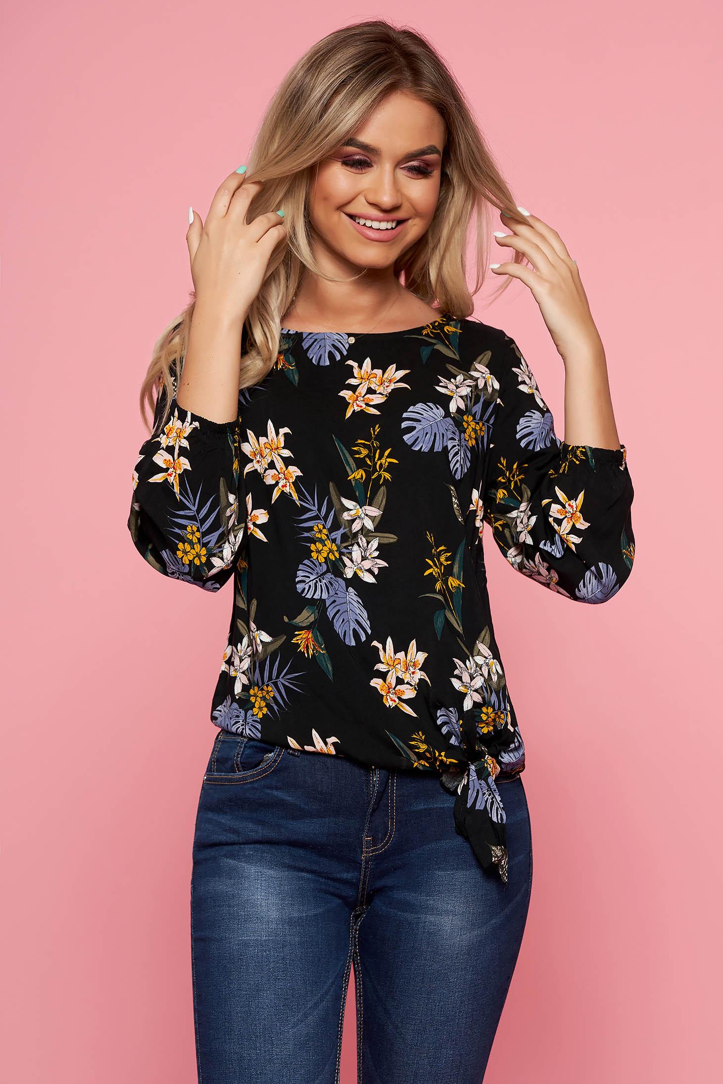 Bluza dama Top Secret neagra casual cu croi larg cu maneca 3/4 cu imprimeuri florale