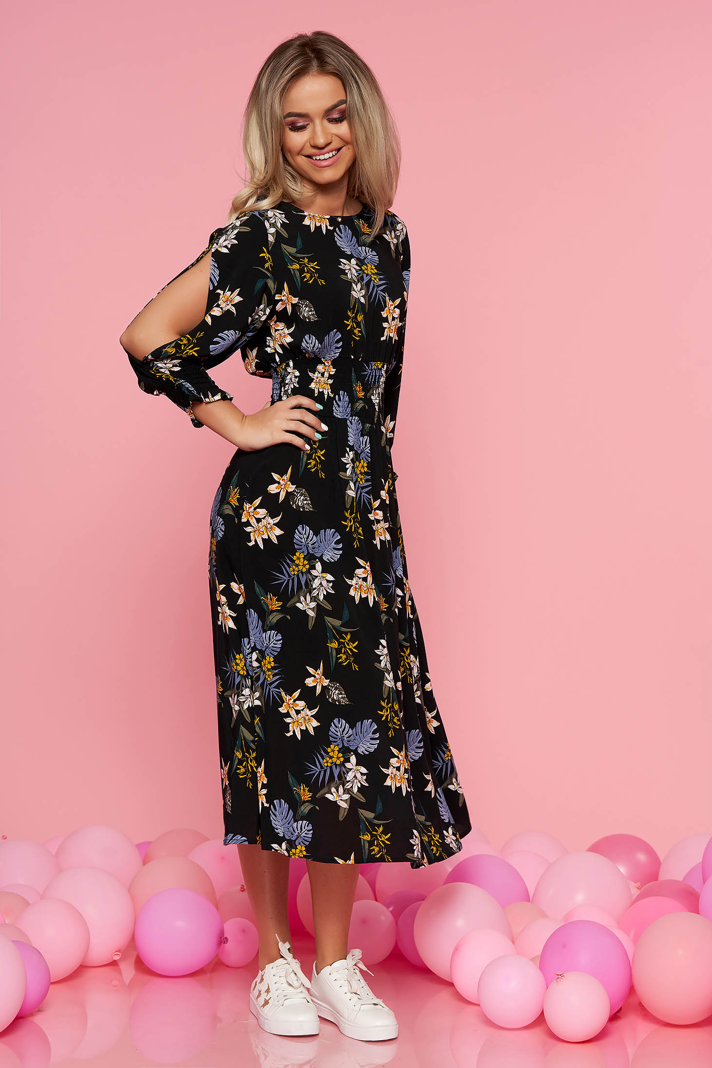 Top Secret black daily cloche dress with cut-out sleeves airy fabric with floral print