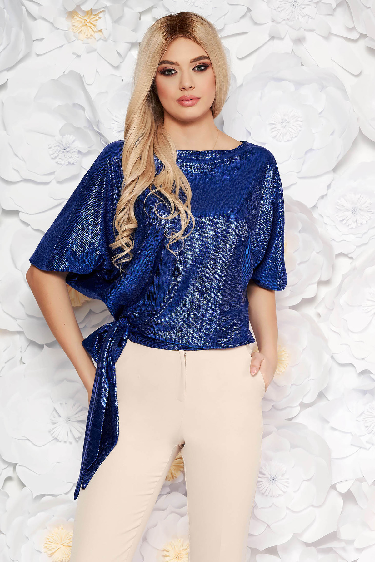 Bluza dama StarShinerS albastra eleganta cu croi larg din material lucios