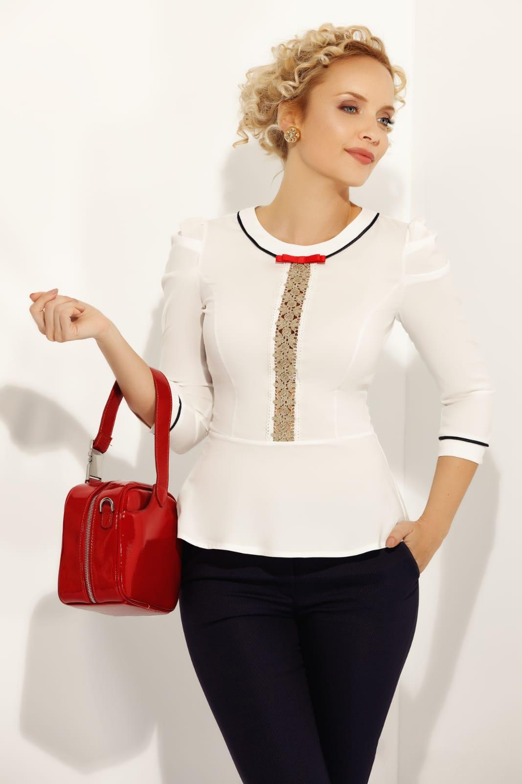 Fehér Fofy női ing irodai szűk szabás enyhén elasztikus pamut peplummal