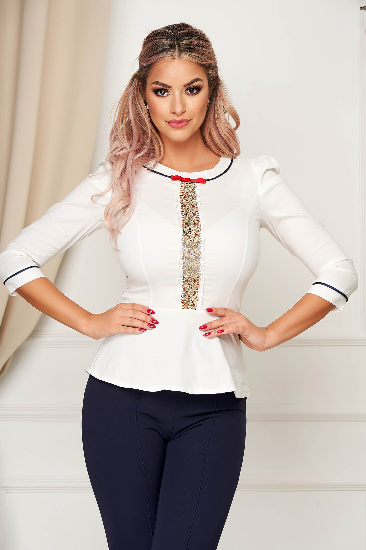 White women`s shirt office with tented cut slightly elastic cotton peplum