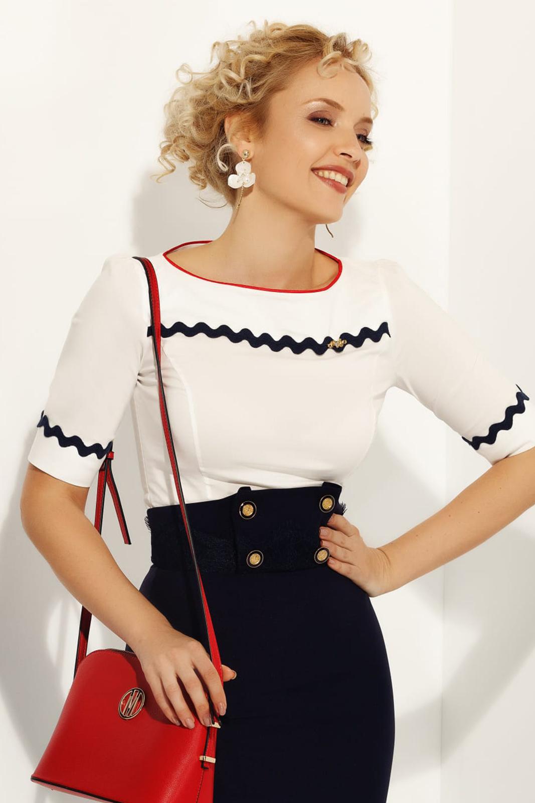 Fehér Fofy női ing irodai szűk szabás enyhén elasztikus pamut háromnegyedes ujjú