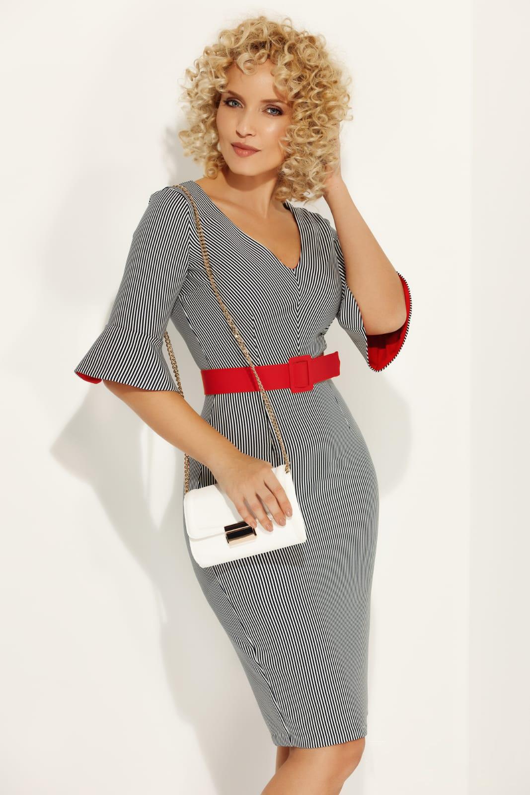 Rochie Fofy neagra cu accente rosii office midi tip creion din material elastic cu accesoriu tip curea