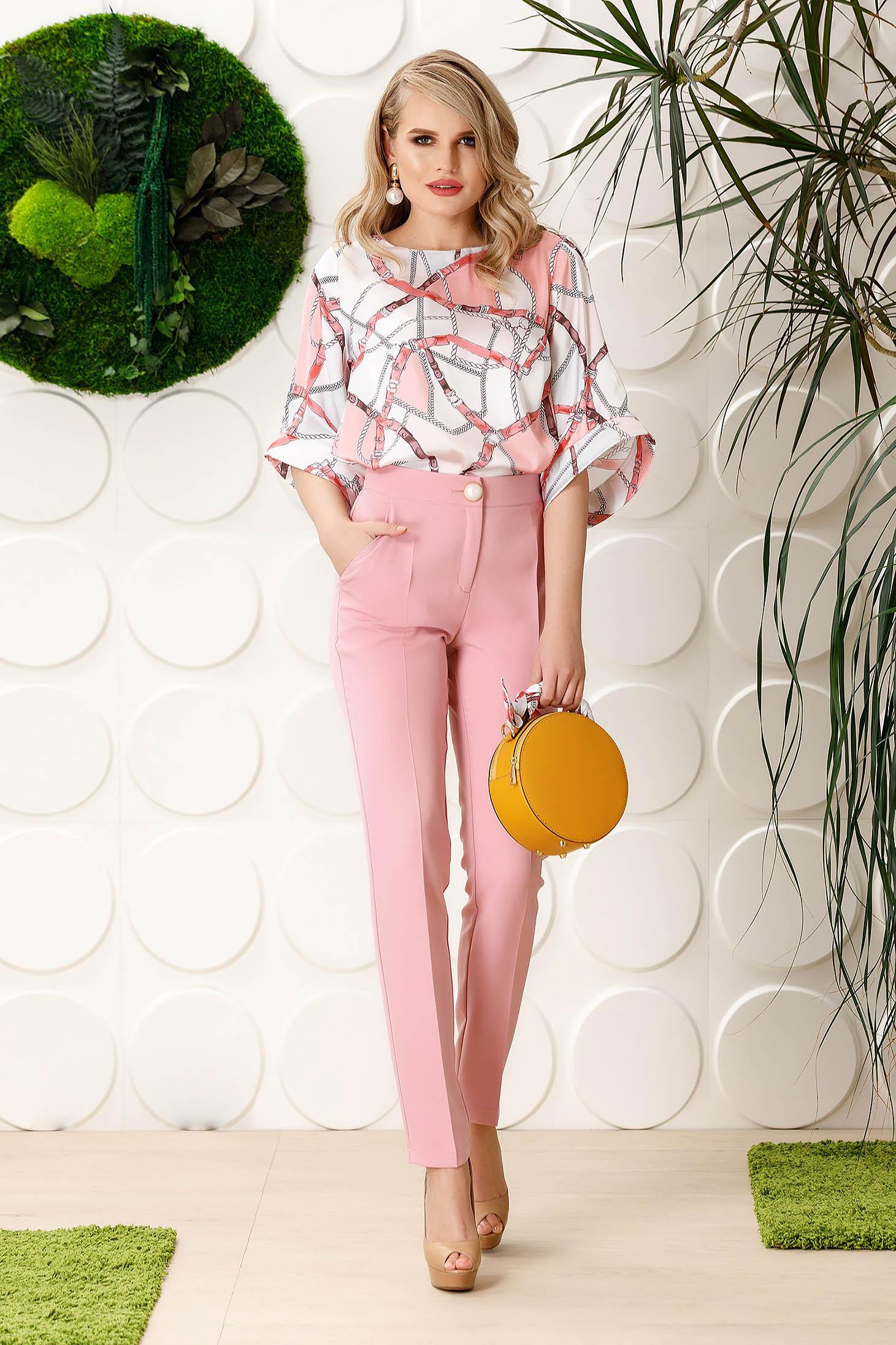 Pantaloni PrettyGirl roz deschis eleganti office cu un croi drept din stofa usor elastica