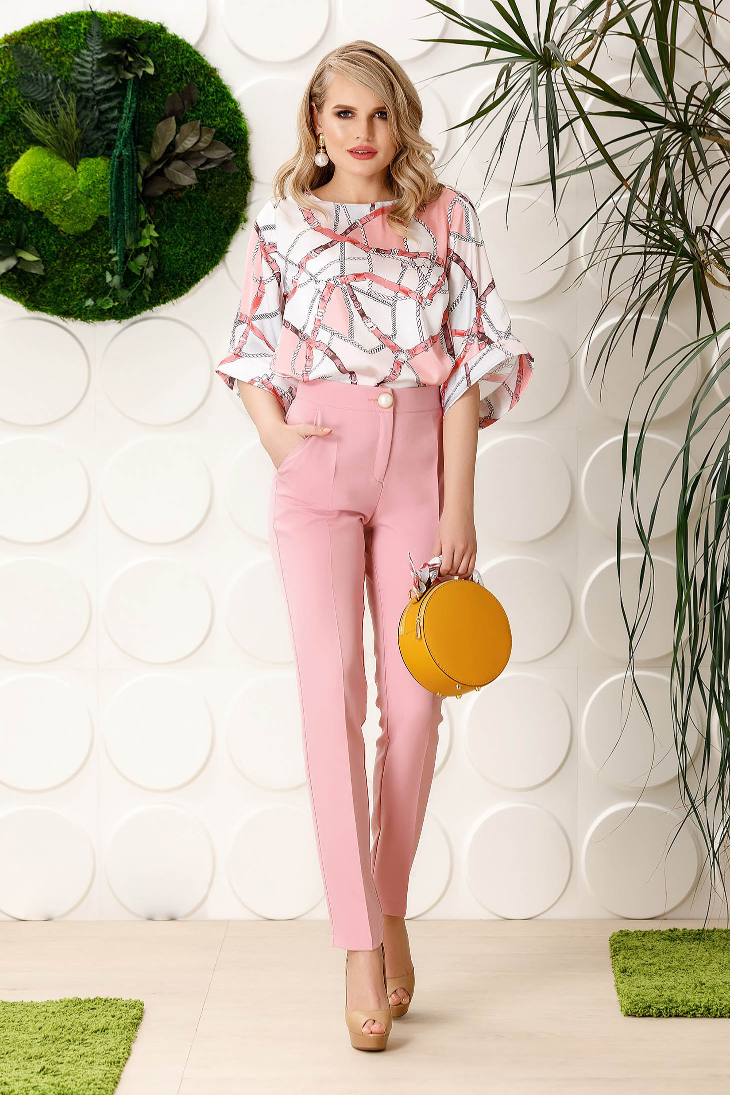 PrettyGirl rosa elegant office trousers straight slightly elastic fabric