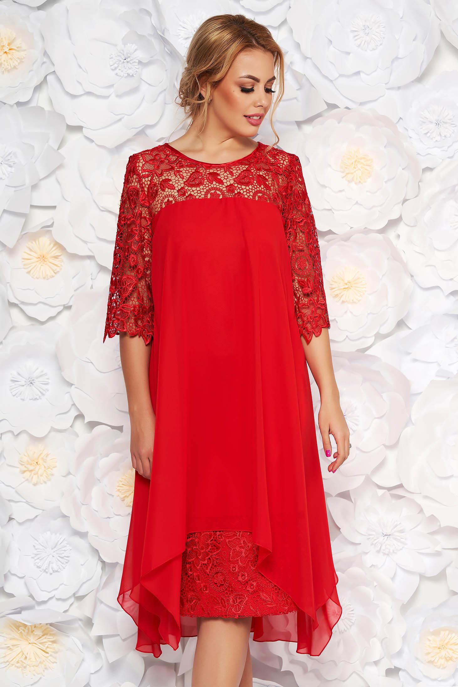 0575138d56 Piros alkalmi egyenes ruha csipke ujj enyhén elasztikus szövet fátyol