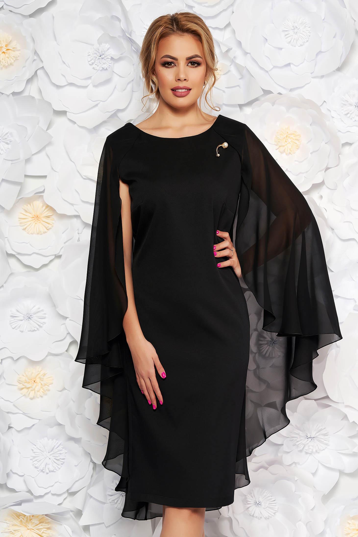 Rochie neagra de ocazie din stofa subtire usor elastica suprapunere cu voal